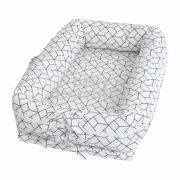 Ninho para bebê redutor de berço 180 Fios Geometric Branco com Preto