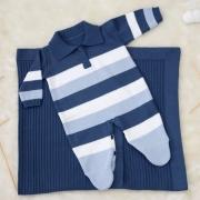 Saída Maternidade 02 Peças Tricot Macacão Henry Azul Bebê