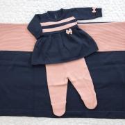 Saída Maternidade 03 Peças Tricot Vestido Bia c/ Detalhes em Listras e Laço Azul Marinho