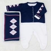 Saida Maternidade Tricot Escocês Azul Marinho 03 Peças