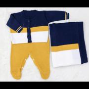 Saida Maternidade Tricot London Azul-marinho c/ Caramelo e Branco 03 Peças
