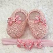 Sapatinho Tricot e Tiara c/ Dois Laços para Bebê Pérola Rosa