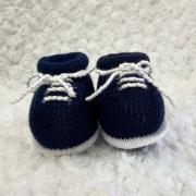 Sapatinho Tricot para Bebê Basic Azul Marinho c/ Branco