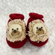 Sapatinho Tricot para Bebê Leão Vermelho