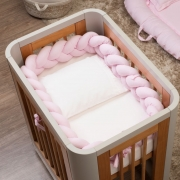 Trança Protetora De Mini Berço Percal 300 Fios Rosa