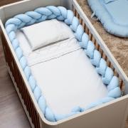 Trança Protetora Para Berço Percal 300 Fios Azul Bebê