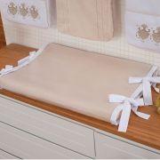 Trocador Anatômico Para Bebê Percal 300 Fios Off White com Branco
