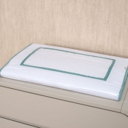 Trocador Para Cômoda Para Bebê Percal 300 Fios Basic Branco com Verde Balsamo