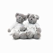 Ursa Elis e Urso Jon Pelúcia c/ Roupinha de Linho Branco