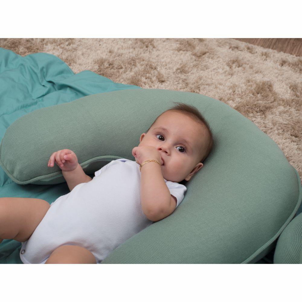 Almofada de Amamentação para Bebê Tricot Verde Oliva Fauna