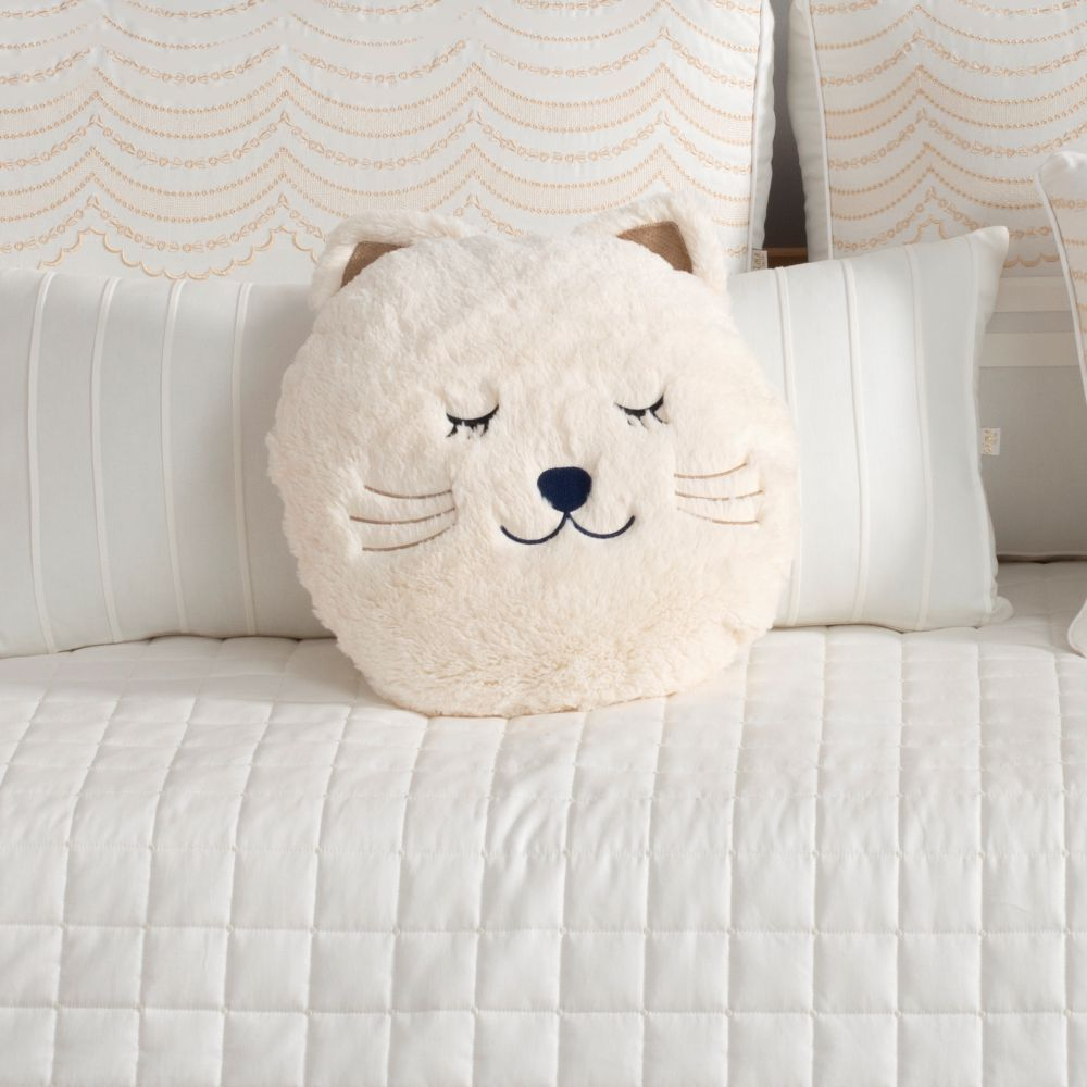 Almofada Decorativa Bola de Neve Pelúcia Marfim