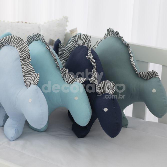 Almofada Decorativa Dinossauro 300 Fios Azul Bebê