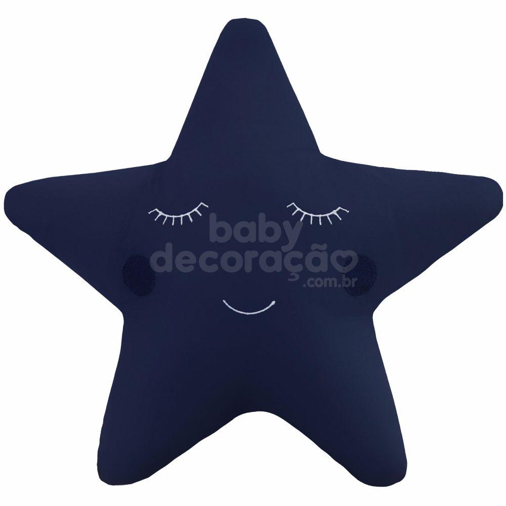 Almofada Decorativa Estrela Percal 300 fios Azul marinho