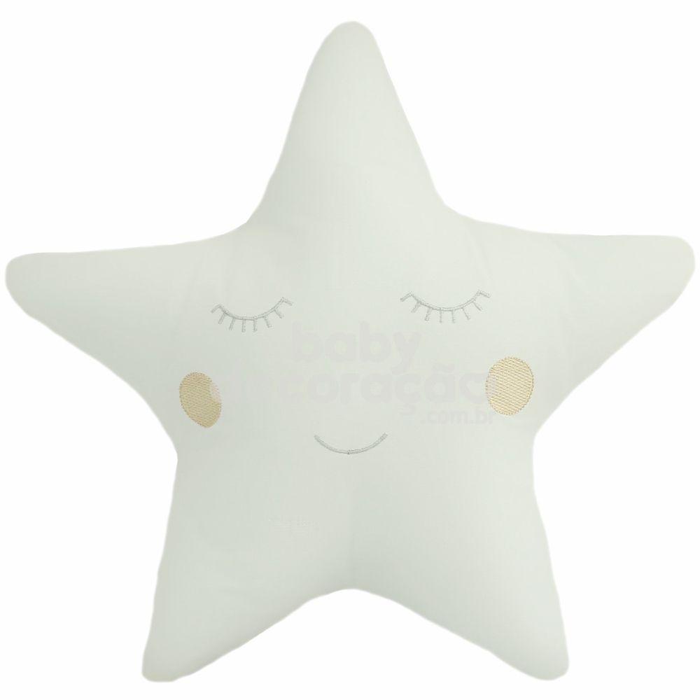 Almofada Decorativa Estrela Percal 300 fios Marfim