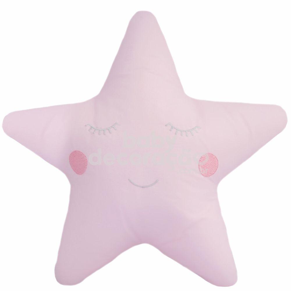 Almofada Decorativa Estrela Percal 300 fios Rosa