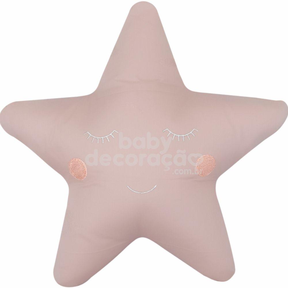Almofada Decorativa Estrela Percal 300 fios Rosê