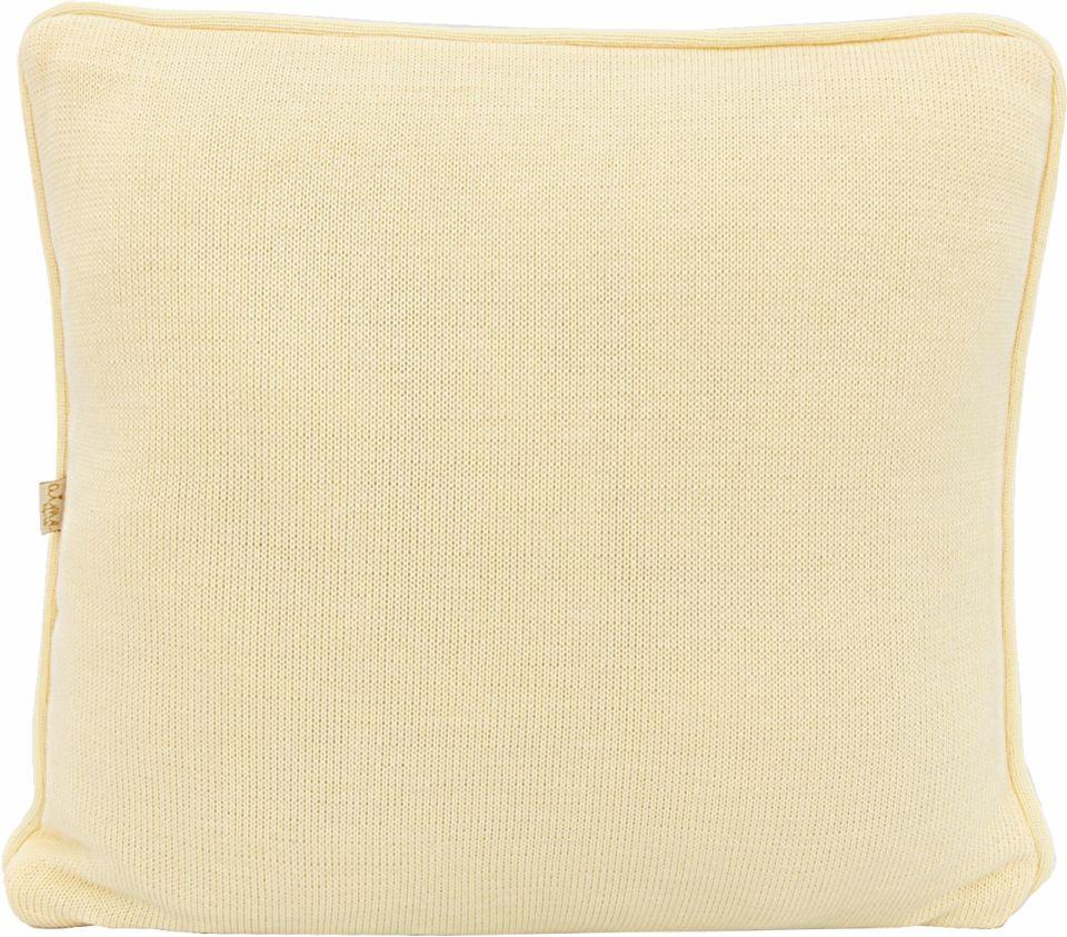 Almofada Decorativa Quadrada  com cordão Tricot Meia Malha Amarelo Bebê
