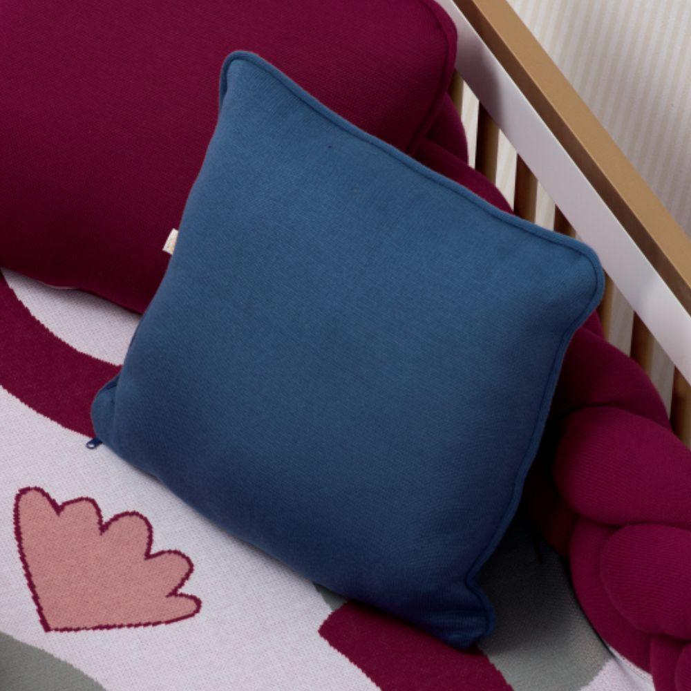 Almofada Decorativa Quadrada com cordão Tricot Meia Malha Blue Jeans