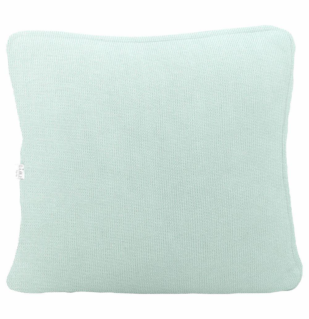 Almofada Decorativa Quadrada com cordão Tricot Meia Malha Verde Menta