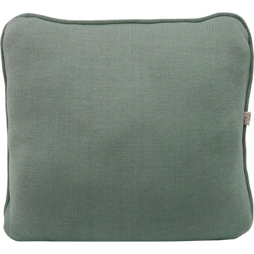 Almofada Decorativa Quadrada com Cordão Tricot Meia Malha Verde Oliva Fauna