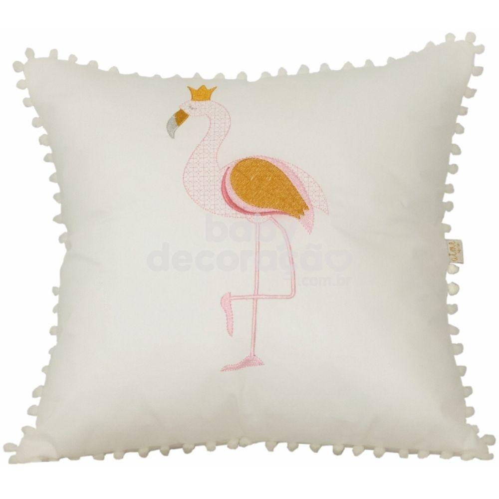 Almofada Decorativa Quadrada Flamingo 300 fios Marfim
