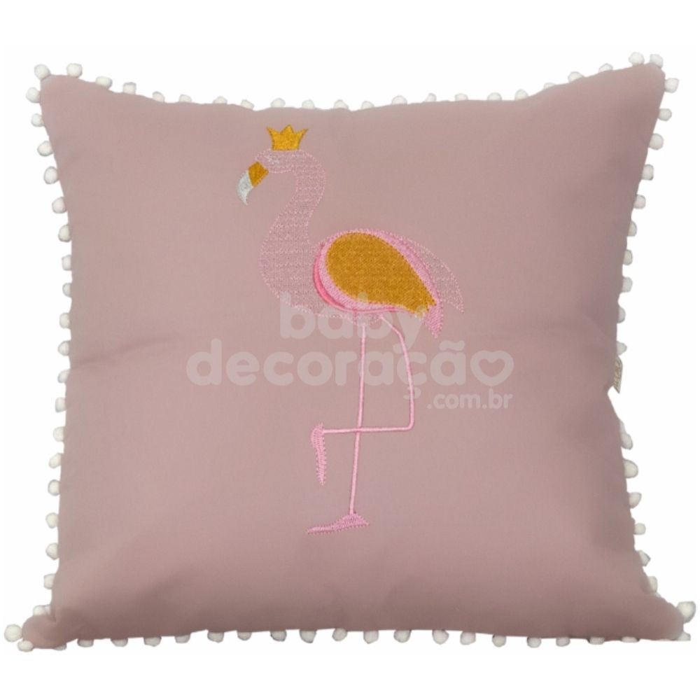 Almofada Decorativa Quadrada Flamingo 300 fios Rosê