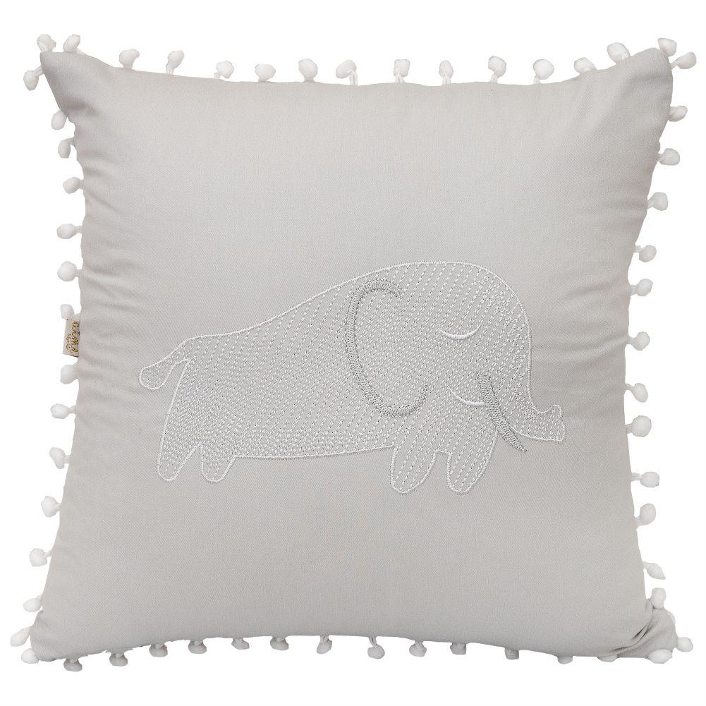 Almofada Decorativa Quadrada Percal 300 Fios Baby Safari Elefante Cinza