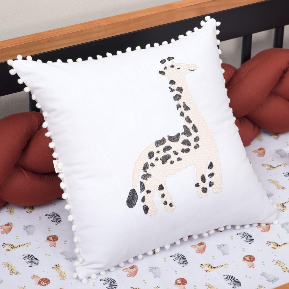 Almofada Decorativa Quadrada Percal 300 Fios Baby Safari Girafa Branco
