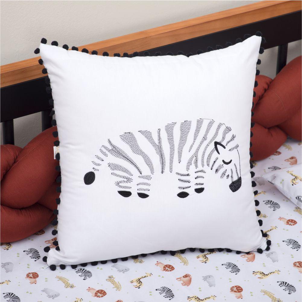Almofada Decorativa Quadrada Percal 300 Fios Baby Safari Zebra Branco com Preto