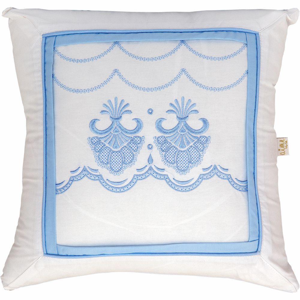 Almofada Decorativa Quadrada Percal 300 Fios Elegance Branco com Azul Bebê