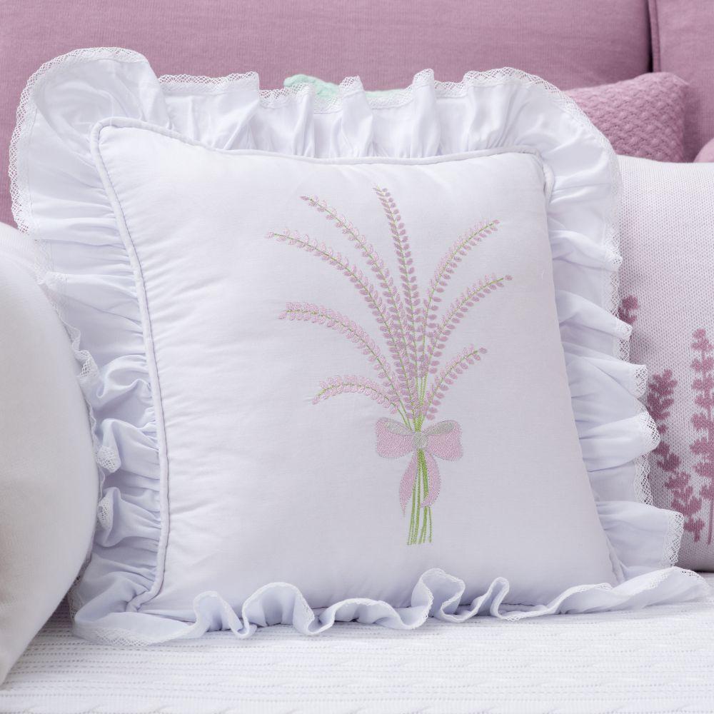Almofada Decorativa Quadrada Percal 300 Fios Lavanda c/ Babado Branco