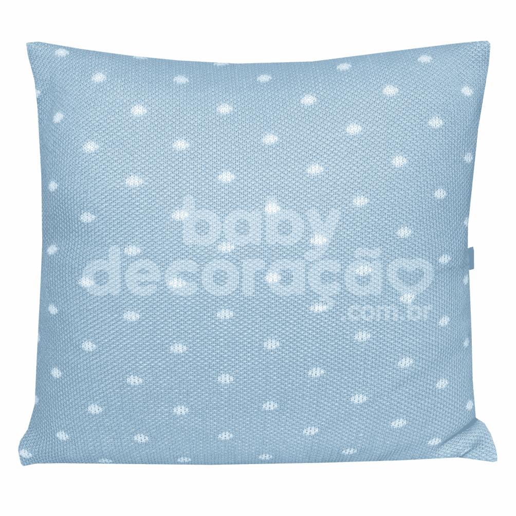 Almofada Decorativa Quadrada Tricot Elliot Azul bebê com branco