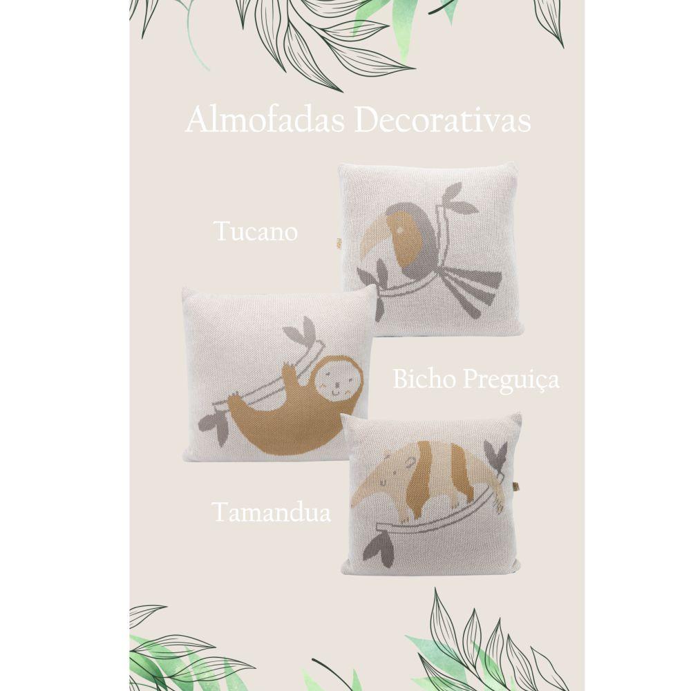 Almofada Decorativa Quadrada Tricot Fauna Tamandua