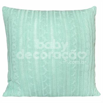 Almofada Decorativa Quadrada Tricot Lauren Verde Menta