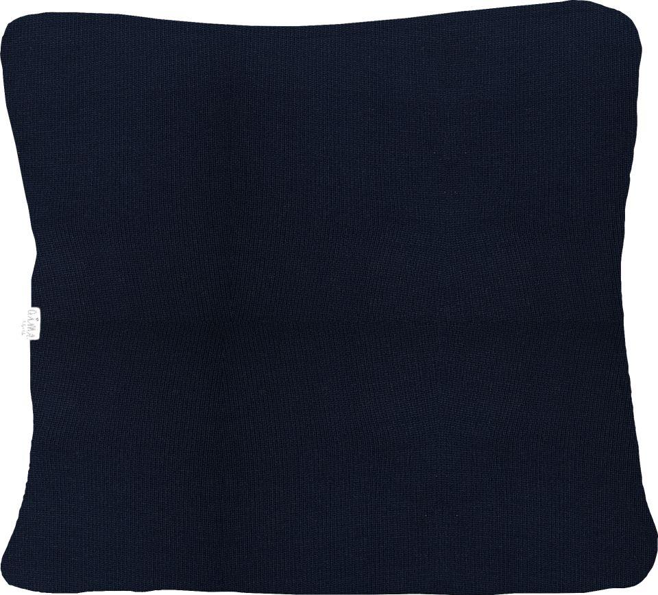 Almofada Decorativa Quadrada com Cordão Tricot  Meia Malha Azul Marinho