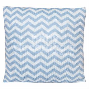 Almofada Decorativa Quadrada Tricot Sebastian Azul bebê com Branco