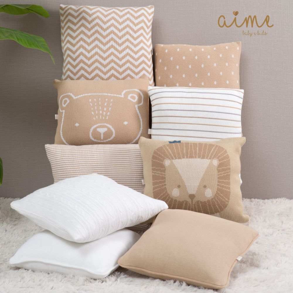 Almofada Decorativa Quadrada Tricot Sebastian Bege com Branco