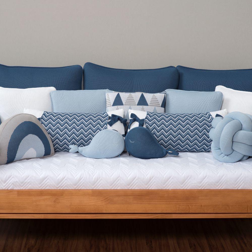 Almofada Decorativa Quadrada Tricot Thomas Blue Jeans