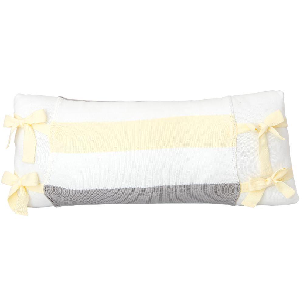 Almofada Decorativa Retangular Tricot  Meia Malha Branca com Avental Lines Amarelo Bebê