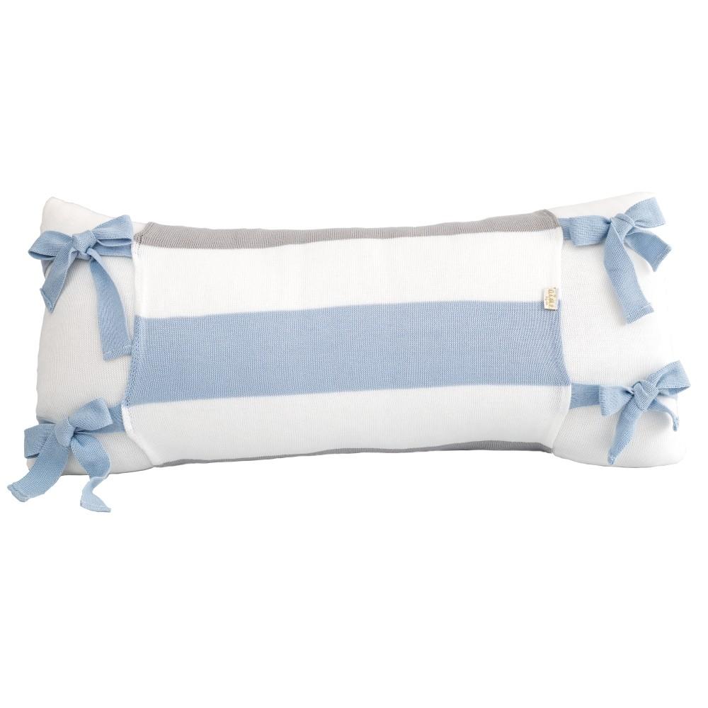 Almofada Decorativa Retangular Tricot  Meia Malha Branca com Avental Lines Azul Bebê