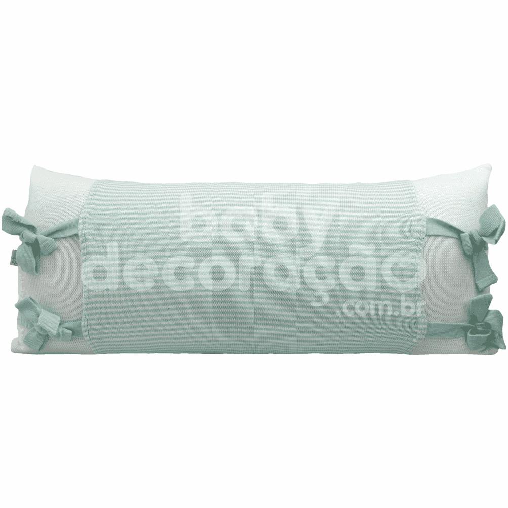 Almofada Decorativa Retangular Tricot Meia Malha Branco com Avental Benjamin Verde com branco