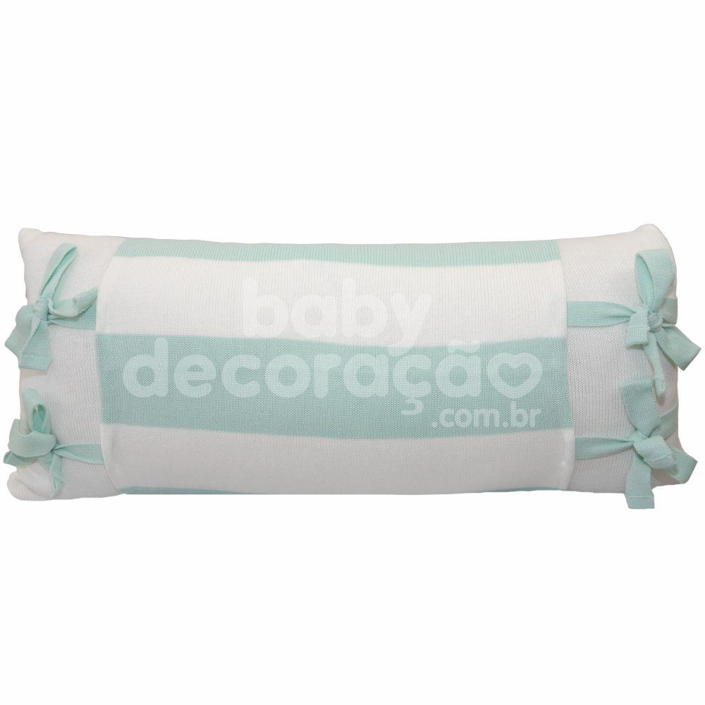 Almofada Decorativa Retangular Tricot Meia Malha Branco com Avental Joseph Verde Menta com Branco