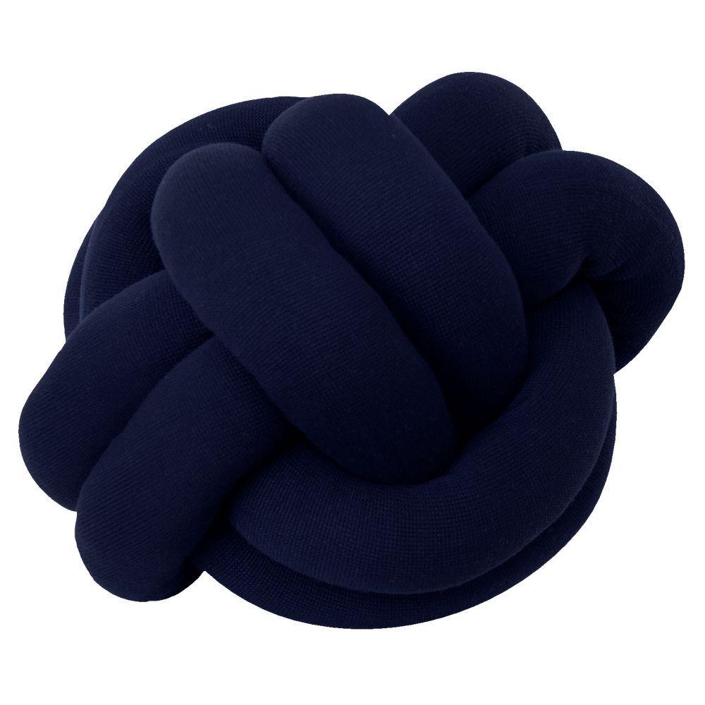 Almofada Decorativa Tricot Nó Escandinavo Azul Marinho