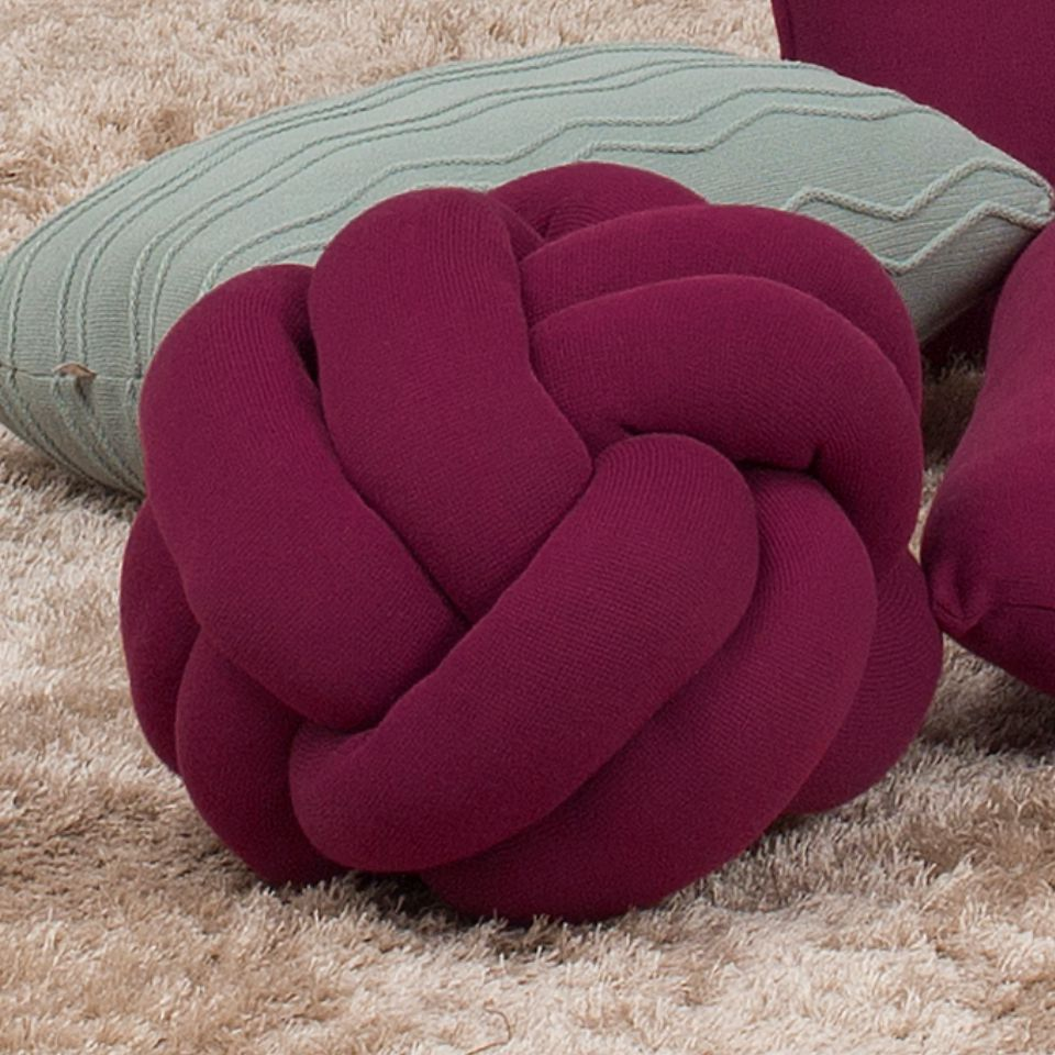 Almofada Decorativa Tricot Nó Escandinavo Magenta Purple
