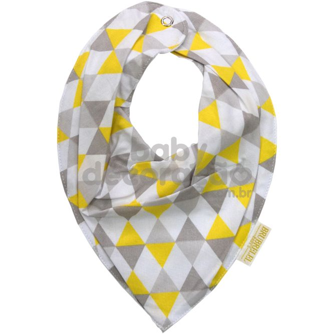 Babador Bandana Para Bebê Geométrico Amarelo e Cinza