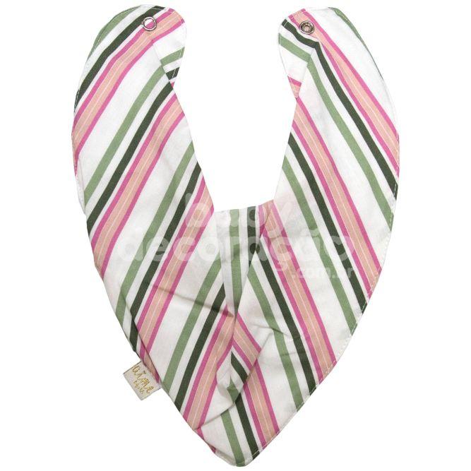 Babador Bandana Para Bebê Listrado Verde e Rosa