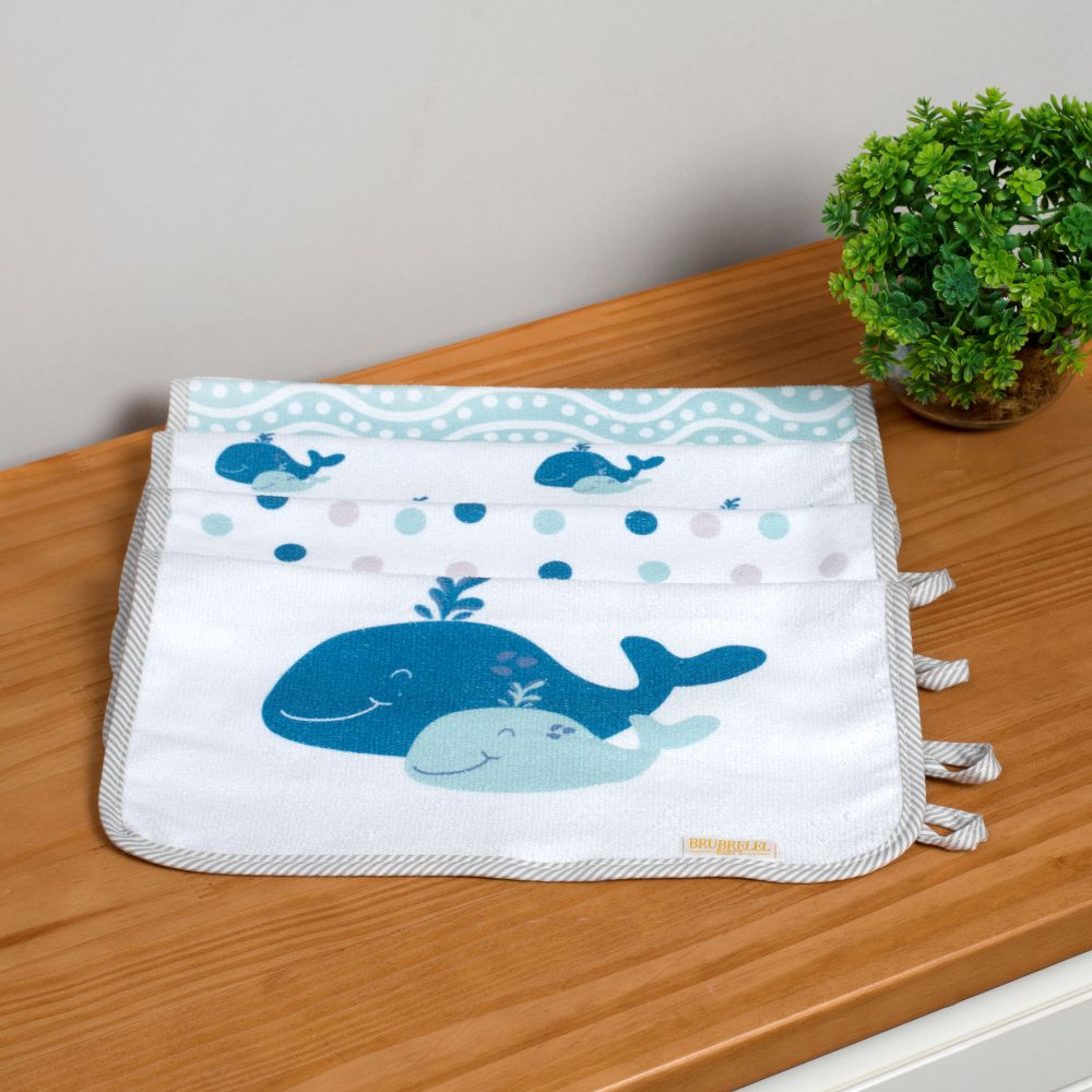 Boquinha Felpa 04 Peças Baleia Azul Bebê