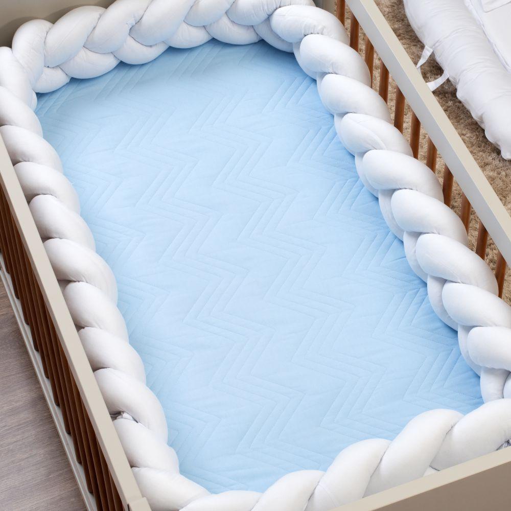 Cobre Leito de Berço Avulso Matelassê 300 fios Azul Bebê
