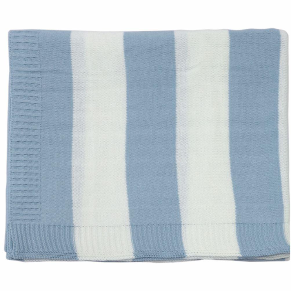 Cobre Leito Para Berço Tricot  Joseph Azul Bebê com branco
