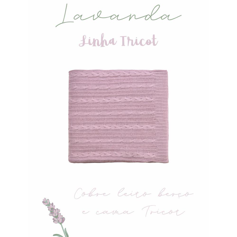 Cobre Leito Para Berço Tricot Lauren Lavanda
